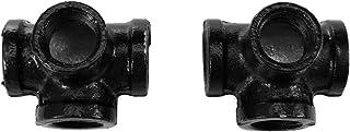 EsportsMJJ 2Pcs 1/2 Pouces 4 Voies Mur Industriel Tubes De Table Raccords De Jambe Support De Tablette - Noir