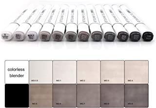 Touchnew Artist Graphic Marker Pen 6/12/30 Grey Colours,Dual Tip Art Marker for Sketch,Drawing (12 Warm Grey)