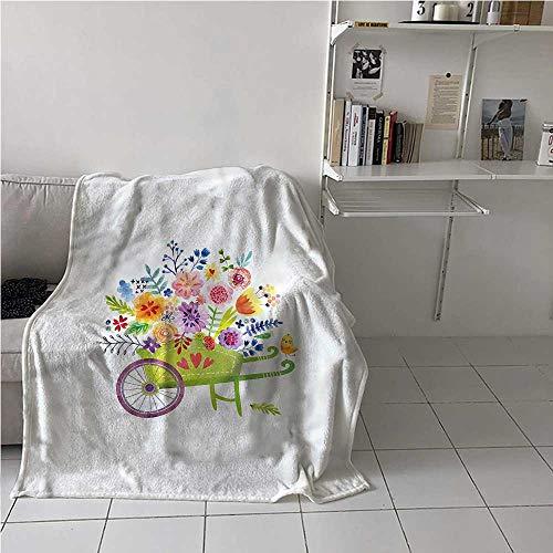Flannel Blanket Throw Flowers Lovely Soft Warm Fabric Wheelbarrow Flowers Best Gift for Women, Men, Kid, Teen 50x60 Inch