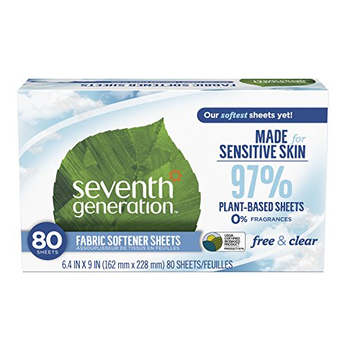 Seventh Generation Fabric Softener Sheets, Free & Clear, 80 count (Packaging May Vary)
