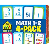 School Zone - Math 1-2 Flash Cards 4-Pack - Ages 4+, Addition, Subtraction, Numbers 0-100, Math War Game, and More (Flash Card 4-pk)