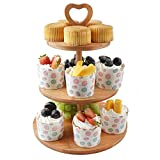 LAEMALLS 3-Tier Bamboo Cake Stand, Round Serving Stand Fruit Plate Party Food Server Display For Cookies, Sweets, Baked Goods, Snacks - Ideal for Party Wedding Birthday Afternoon tea, Natural#2
