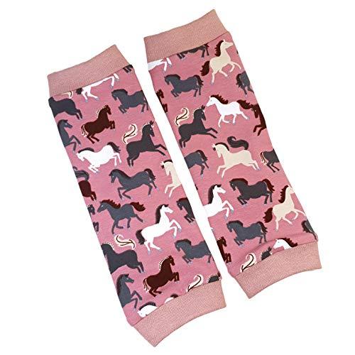la.nunu Stulpen für Mädchen - Pferde Rosa 0-23 Monate - Kinderstulpen aus Baumwolle - Handarbeit - Baby Kinder Beinstulpen Babystulpen