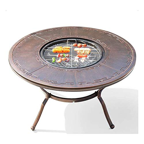 HTTJDY Outdoor Fire Pits Metal Fire Pit Desk BBQ Round Brazier Coffee Table Barbecue Rack Removable Baking Tray Non-Stick Material, Easy to Clean, Environmentally Friendly, Backyard Patio Garden
