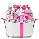Home Spa Bath Gift Basket - Pink Orchid and Balsamic Strawberry Fragrance - Luxury Bath & Body Set For Women - Contains Bath Bombs, Skincare Lotion, Bath Salts, Bubble Bath, and Shower Gel