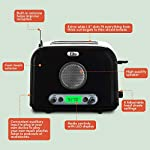 Elite-Platinum-ERT-6067-Maxi-Matic-2-Slice-Cool-Touch-AMFM-Radio-Toaster-with-AUX-input-jack-Bagel-Defrost-Cancel-Buttons-6-Shade-Settings-15-Wide-Slots-Black-Stainless-Steel