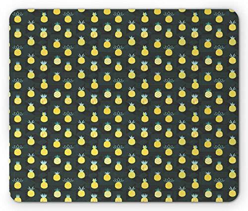 Pineapple Mouse Pad, Hipster Memphis Style Geometrische Motief Vegan Food Tasty Art, muismat Donker Olijf Mosterd
