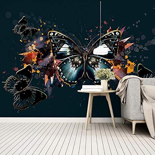 Papel tapiz 3D moderno simple HD pintado a mano luz de lujo coloridos murales de mariposas sala de estar Fondo Retro pintura de pared