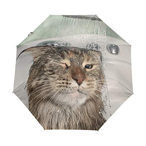 Paraguas de Viaje pequeño a Prueba de Viento al Aire Libre Lluvia Sol UV Auto Compacto 3 Pliegues Cubierta de Paraguas - Gato de Ducha