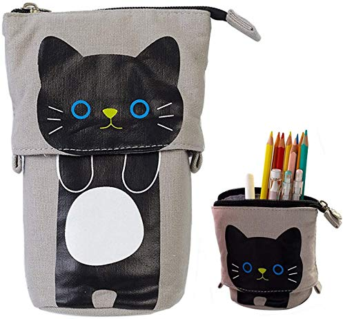 Transformer Stand Store Pencil Holder Canvas Cute Pencil Case Zipper Cat Pencil Box Boys&Girls School Supplies Pen Bags Gifts (Grey)