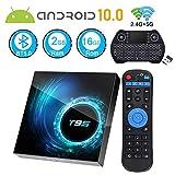 Android TV Box 10.0, Android Box 2GB Ram 16GB ROM Quad Core 64 Bits T95 Media Player Dual WiFi 2.4G/5G Bluetooth 5.0 6K/4K/3D/ H.265 Smart TV Box with Mini Backlit Wireless Keyboard