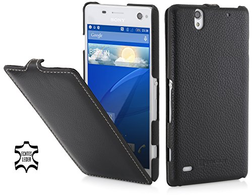 StilGut UltraSlim Hülle, Hülle aus Leder kompatibel mit Sony Xperia C4, schwarz