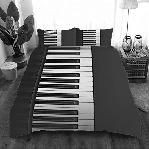 Fundas Nórdica Cama Piano 3D Estampado Juego de Ropa de Cama Fundas Edredón Nórdico Microfibra Niños Adultos 240x220cm con 2 Fundas de Almohada