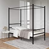 Mainstays Easy to Assemble Modern Design Sturdy Metal Frame Four Post Canopy Bed, Queen-Black