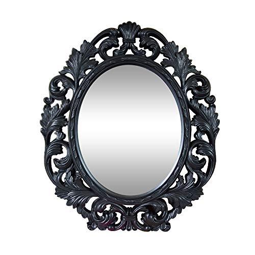 DRULINE Kosmetikspiegel Barock-Stil Standspiegel Wandspiegel Tischspiegel Dekoration Verzierungen | L x B x H 32 x 1.5 x 38 cm | Schwarz