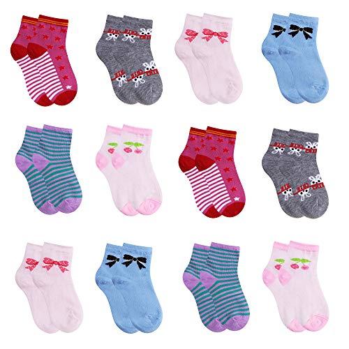 L&K-II 12er Kinder Mädchen Socken aus Baumwolle Kleinkind niedliche Muster Kids Sneakersocken bunt 2808 31-34