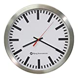 Bjerg Instruments Railway Modern 12' Stainless Silent Wall Clock White Face with Non Ticking Quiet and Accurate Movement
