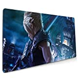 Fi-Nal Fan-Tas-Y Clo-Ud Mouse Pad / Mat with Stitched Edge, Non-Slip Rubber Base Mouse Pads for Computers Laptop Office Desk Gaming, Large Waterproof 35.4x15.7 Inch