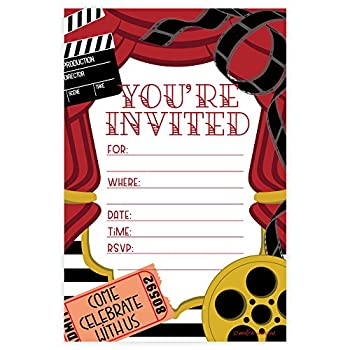 Movie Party Invitations - Fill In Style  20 Count  With Envelopes