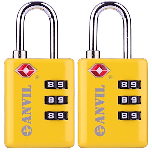 TSA Approved Luggage Locks, Durable Travel Lock with Inspection Indicator and 3 Digit Re-Settable Combination (C117YELLOW2)