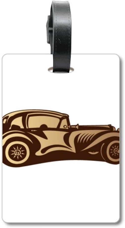 Etiqueta de identificación para Maleta, diseño de Silueta de Autos, Color marrón
