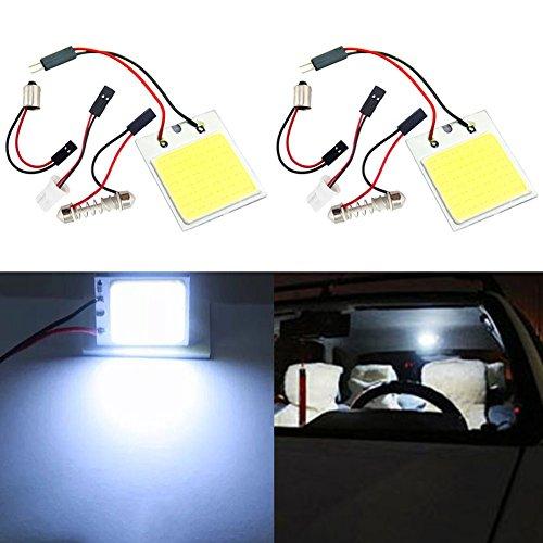 TABEN 48-COB-SMD - Kit di luci a LED per interno auto, plafoniera, abitacolo, bagagliaio, cassone, luci di cortesia, 12 V, T10 + BA9s + adattatori, confezione da 2 pezzi