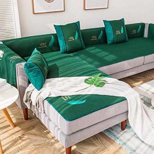 Homeen Toalla de sofá, funda de sofá de verano para sofá de cuero, funda de sofá de 2/3/4 plazas, funda antideslizante para asiento de sofá de sala de estar - verde_80 x 120 cm