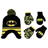 DC Comics Boys Batman Winter Hat and 2 Pack Mittens Set (Age 2-4)