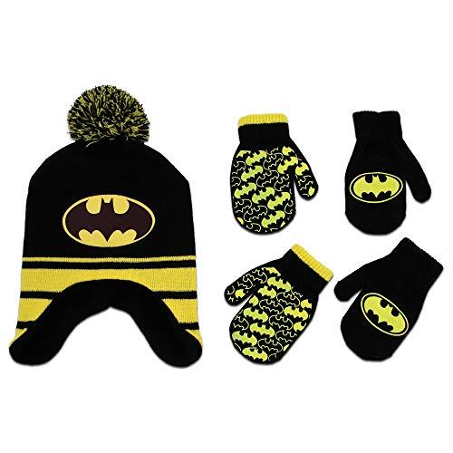 DC Comics Boys Batman Winter Hat 2 Pair Gloves or Mittens Set (Toddler/Little Boys) Age 2-4 Batman Black/Yellow Mitten