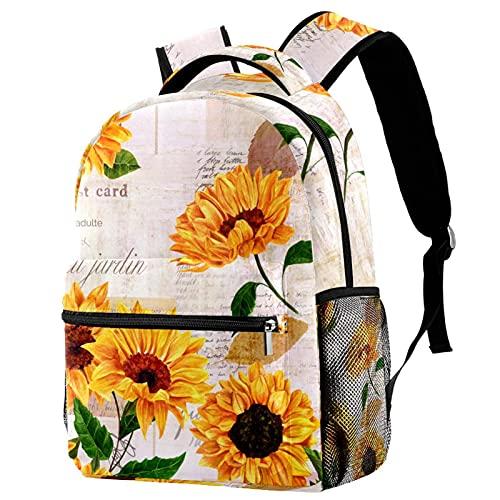 Mochila con diseño de girasol, mochila para estudiantes, mochila escolar, adorable bolsa de libros con bolsillos laterales para niño y adolescente