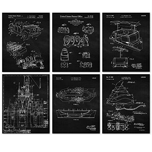Vintage Disney Rides BW Patent Poster Prints, Set of 6 (8x10) BW Unframed Photos, Wall Art Decor Gifts Under 20 for Home, Office, Garage, Man Cave, College Student, Teacher, Theme Park & Movies Fan