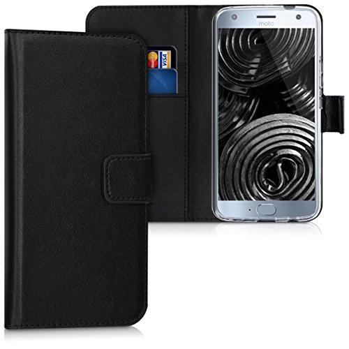 kwmobile Wallet Hülle kompatibel mit Motorola Moto X4 - Hülle Kunstleder mit Kartenfächern Stand in Schwarz