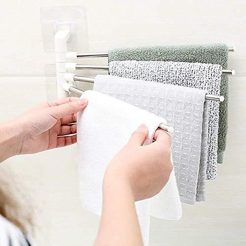 SAM APPLIANCES Stainless Steel 4 Bar Towel Rack for Bathroom Towel Holder for Kitchen Towel Hanger Stand for Wash Basin – Self Adhesive
