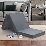 Olee Sleep Tri-Folding Memory Foam Topper, 4', Gray, Single size, Play Mat, Foldable bed, Guest beds, Portable bed
