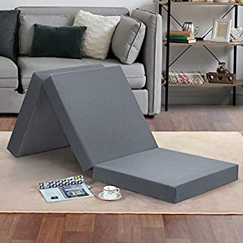 Olee Sleep Tri-Folding Memory Foam Topper 4  Gray Single size Play Mat Foldable bed Guest beds Portable bed