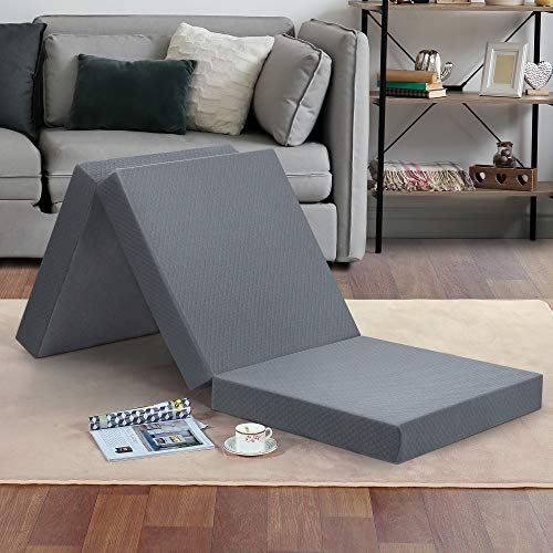 "Olee Sleep Tri-Folding Memory Foam Topper, 4"", Gray, Single size, Play Mat, Foldable bed, Guest beds, Portable bed"