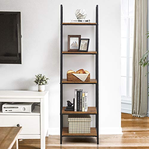 "O&K FURNITURE 5-Tier Ladder Shelf, Ladder Shelves, Industrial Style Bookcase, Leaning Bookcases and Book Shelves, Modern Storage Rack and Shelving Unit-72""H x 20""W x 17""D, Rustic Brown Finish,(1-pc)"