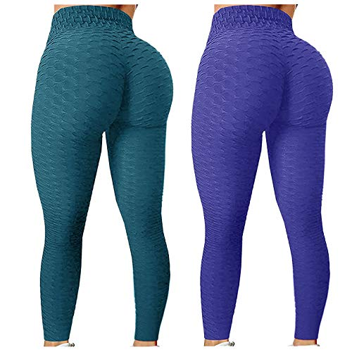 WOZOW Leggings Anti-Cellulite Femme Sport 2pc Bubble Hip Lifting Exercice Fitness Running Pantalon De Yoga Taille Haute Collant Compression Slim Push Up XS-XL (O,2XL)