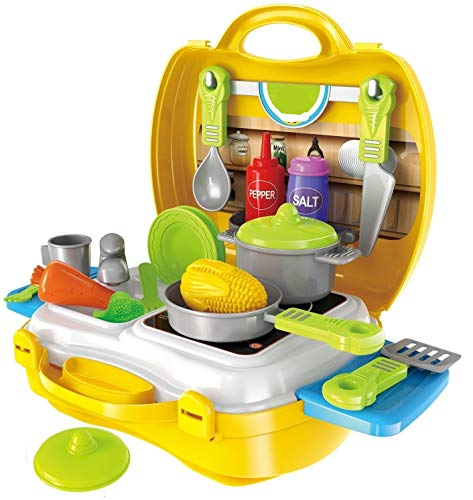 Cable World Plastic Luxury Kitchen Set Cooking Toy with Briefcase and Accessories (Yellow)