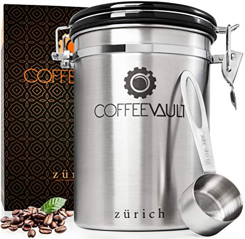 Coffee Container Airtight Storage - Coffee Canister with Scoop - Large Stainless Steel Coffee Storage Vault - Coffee Bean Container with CO2 Valve to Keep Beans Fresh - 1lb - Zurich