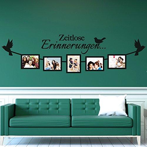 tjapalo® S-pkm160 Wandtatto mit Fotorhamen Wandtattoo Wohnzimmer modern Wandsticker Foto Sprüche Zeitlose Erinnerungen (120x31cm für Fotos mit 10x15cm)