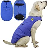 ZHANDIJIPU Cozy Dog Jacket for Waterproof Windproof Reversible Dog Vest Winter Coat Warm Dog Coat for Cold Weather Dog Apparel for Small Medium Large Dogs (XS - 4XL) Blue-2XL