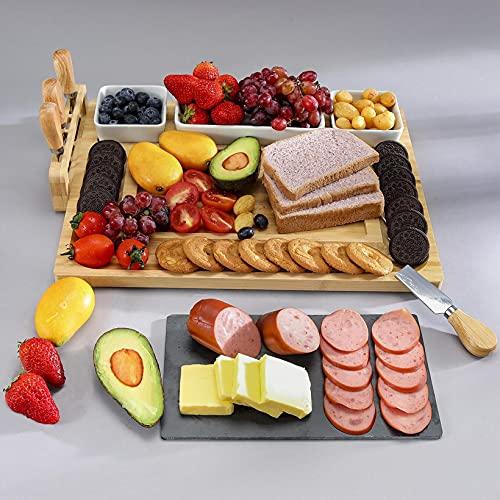 Goklmn Nature Kaasplank, karcuterie-plankset met afneembare leiplaat, kaasdienblad met 3 porseleinen borden voor…