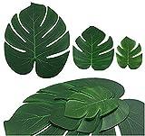 Hitopin 45 Pezzi Tropicali Foglie di Piante, Palma Tropicali Artificiali 3 Dimensioni, Ideali per La Spiaggia, La Giungla Hawaiana, Decorazione per Feste (Verde)