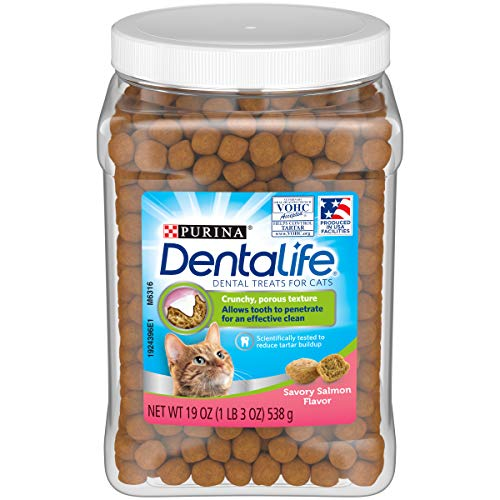 Purina DentaLife Made in USA Facilities Cat Dental Treats, Savory Salmon Flavor...