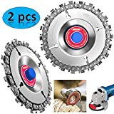 LEATBUY 2pcs Circular Saw Blade Cutter Tool, Cordless Saw Blades Cutter for 100/115 Angle Grinder, Disc Plunge Wood Cut Wheel, Chain 22 Teeth Fine Cutting Set Carbide Chop Saws