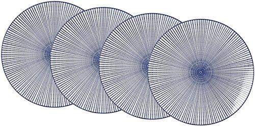 Ritzenhoff & Breker Kuchen- und Frühstücksteller-Set Royal Makoto, 4-teilig, 21,5 cm Durchmesser, Porzellangeschirr, Blau-Weiß