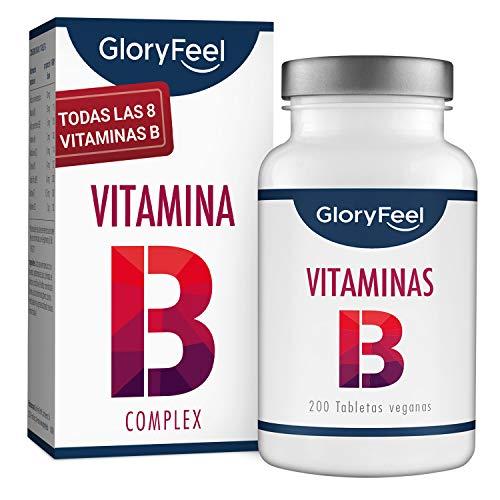 Vitamina B Complex - 200 tabletas veganas de vitamina B - Dosis altas de 8 Formas de Vitaminas B: B1 B2 B3 B5 B6 B7 (biotina) B9 (acido folico) y B12 - Apoyo inmunologico