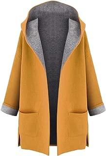 Macondoo Women's Fall Winter Hooded Cardigan Woolen Blend Outwear Pea Coats