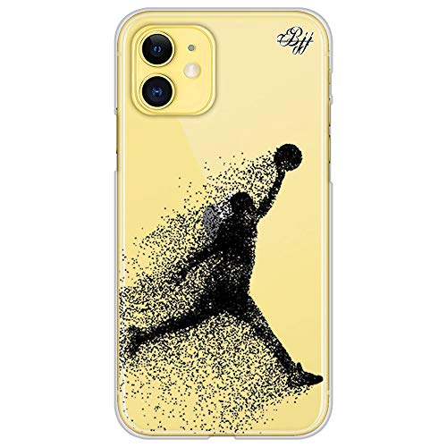 BJJ SHOP Funda Slim Transparente para [ iPhone 11 ], Carcasa de Silicona Flexible TPU, diseño : Jugador de Baloncesto Abstracto Saltando